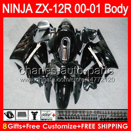 Wholesale Zx12r Red Body Kit - 8gifts gloss red Bodywork For KAWASAKI NINJA ZX12R 00 01 ZX12 R Body 44NO1 ZX-12R ZX 12 R 00-01 ZX 12R 2000 2001 Fairing glossy black Kit