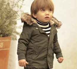 Wholesale Winter Clothes For Infants - Baby Clothes for Boys Kids Winter Overcoat Children Thick Coat Children Clothes Outwear Army Green Down Jacket Infant Boys Jacket Boys Coat