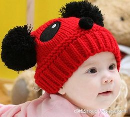 Wholesale Boys Toddler Fitted Caps - Winter Children's Knitted Hat Cartoon Loverly Panda Beanies Baby Winter Hat Toddler Boys Knitting Cap