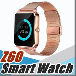Wholesale bs silver - 1X Bluetooth Smart Watch Phone Z60 Stainless Steel Support SIM TF Card Camera Fitness Tracker GT08 DZ09 Smartwatch for IOS Android N-BS