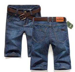 Wholesale Plus Size Thin Pants - Wholesale-2016 hot thin denim trousers male straight denim shorts jean men plus size short jeans knee-length pants brand casual jeans
