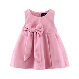 Wholesale big bottoms girl - Princess Girls dress sleeveless bottom dresses Autumn winter Children clothes Big bow sweet girls woolen dress Birthday gifts pink Quality