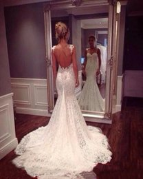 Wholesale China Wedding Dresses Suppliers - Fancy 2016 Lace Wedding Dresses Mermaid With Spaghetti Straps Open Back White Lace Backless Bridal Gowns Wedding Dress China Supplier
