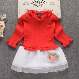 Wholesale Baby Girls Winter Jumpers - 2017 Autumn Winter New fashion Girls sweater dress Kids Baby Sweater Children Clothing Cotton Knitted skirt Jumper Pullover 2-7 years