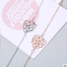 Wholesale wholesale sterling silver jewellery - European Style Brand New Fashion 925 Sliver Bracelets For Women Rose Flower Shape Jewelry Cubic Zirconia Jewellery Female Gift