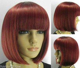 Wholesale Curly Red Full Lace Wig - 100% Brand New High Quality Fashion Picture full lace wigs>>New Sexy Ladies girl bob short dark red Straight brown full wigs