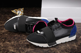 Wholesale Black Shoes For Ladies - Race Runners Shoes Patchwork Sneakers In Blue Suede Matte Black Leather Luxury Brand Race Runner Sneakers for Ladies