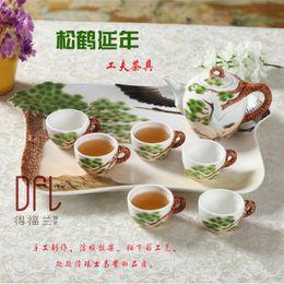 Wholesale Chinese Porcelain Mug - Wholesale-8PCS Chinese Kung Fu Crane Enamel Porcelain Coffee Tea Set Cups High-grade China Bone Tea Pot European Tea Coffee Mugs With Tray