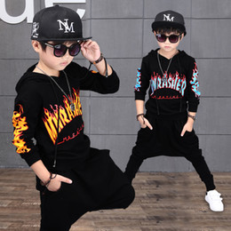 Wholesale Group Children - Baby Kids Clothing Clothing Sets Fashion Novelty boys clothes Groups of Letter Cotton Hooded long sleeve children Spring autumn sport suit