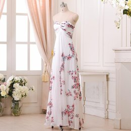 Wholesale Dresses Sweetheart Neckline Chiffon - Floral Print Bridesmaid Dress High Waist Lace-up Sweetheart Neckline Printed Women Wedding Party Dress 2016 New Design