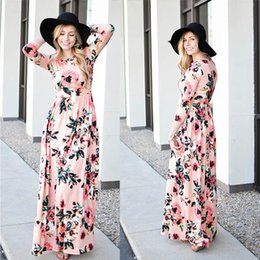 Wholesale Long Sleeve Floral Maxi - 2017 Summer Boho Beach Dress Fashion Floral Printed Women Long Dress Three Quarter sleeve Loose Maxi Dress Vestidos