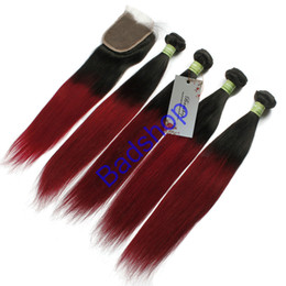 Wholesale Malaysian Hair Closure 1b - 8A Grade Straight Hair 1B BURG Ombre Hair Extensions With Lace Closure (4x4) 3 Bundles PCS Lot Unprocessed Straight Human Hair Weave