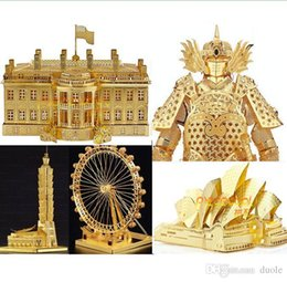 Wholesale Diy Notre Dame - 15 Styles DIY 3D Models Metallic Nano Puzzle Notre Dame DE Paris White House Arc DE triomphe Build Kits no glue required For Chirstmas gift