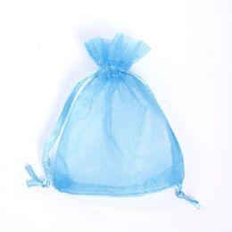 Wholesale Drawstrings Back - Lake Blue Organza Jewelry Gift Pouch Bags 100 Pcs 9X12cm ( 3.5 x 4.7 inch) Drawstring Bag Organza Gift Candy Bags