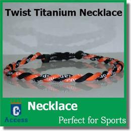 "Wholesale Orange Tornadoes - NEW 20"" 2 Rope Twisted Titanium Sport Necklace Black Orange Tornado Baseball"