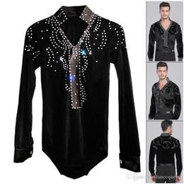 Wholesale Latin Dance Ruffle Dress - Man Latin Ballroom Dancing Dresses Top High-Grade Velvet Dance Wear Drilling Boy Clothes For Dancing Men Dance Exercise Shirt