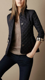 Wholesale Ladies Uk - UK Brand Solid Womens Brit Jackets Spring Autumn Fashion Ladies Slim Fit Plaid Casual Jacket for Girls Long Sleeve Britain Coats M-XXL