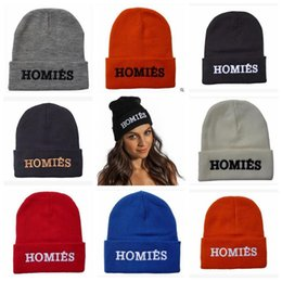 Wholesale Streetwear Beanies - 8 Colors Homies Beanies Fashion Winter Warm Knitted Beanies Snapback Hats Caps Hip Hop Streetwear Hat Cap CCA6963 50pcs