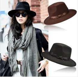 Wholesale Womens Hats Wide Brim - Fashion Vintage Hats Womens Mens Trilby Derby Caps Jazz Hats Fedoras Style Top Hats Blower Brand Style Popular Formal Fashion Cap SV009808