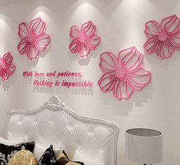 Wholesale Office Environmental - Posters Crystal Rose Wall Stickers Acrylic Material Wallpaper Environmental Home Bedroom Office Decor Creative Style Wall Decals LLFA