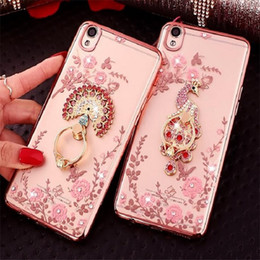 Wholesale Gold Phone Cases - Luxury Bling Diamond Ring Holder Phone Case Crystal Flexible TPU Cover With Kickstand for iPhone X 8 7 6S Plus Samsung S7 egde S8 S9 Plus