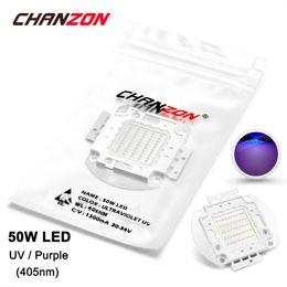 Wholesale High Power Uv Bulb - Wholesale- 50W LED Light Bulb Lamp UV Ultraviolet 405nm 30-34V 1500mA High Power 50 W Watt Purple Ultra Violet Chip 50Watt COB for Nail