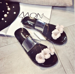 Wholesale Shoes Crystal Plastic Jelly - New Summer Fashion Women Flower Crystal Jelly Sandals Flat Plastic Beach Shoes Lady Shoes 36-40 Size Choose