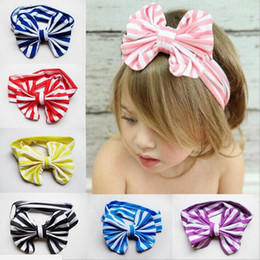 Wholesale Babies Knitted Headwraps - Stripe Children Baby Head Wrap Bow Fabric Headband Jersey Knit Headwraps Kids Turban Hair Bows 8 Colors Christmas Wholesale Accessories 2016