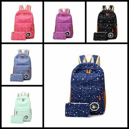 Wholesale cute rucksacks - Wholesale Women Canvas Backpack Cute stars Printing Backpacks Girls Travel School Bags For Teenagers Mochila Shoulder Rucksack student bags
