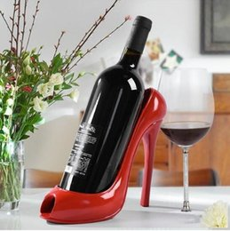 Wholesale High Heel Bottle - High Heel Shoe Wine Bottle Holder Wine Rack Practical Sculpture Wine Racks Home Decoration Accessories