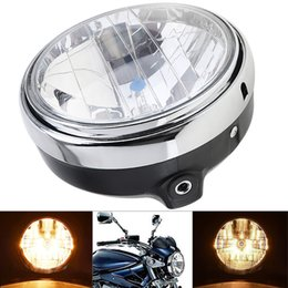 Wholesale Cb Motorcycle - 7 Inch 35W Universal Clear Lens Beam Motorcycle Headlight Round LED HeadLamp for Honda CB Series MOT_21A