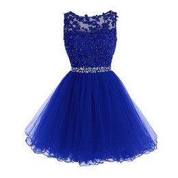 Wholesale Mini Skirt Sheer Lace - 2016 High Quality Short Lace Royal Blue Homecoming Dresses Sheer Bateau Neckline Sleeveless Beaded Appliques Tulle Skirt Prom Gowns Custom