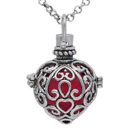 5668b9cfb298 Lotes Venta al por mayor de plata antigua corazón caja de la jaula Locket  colgante para aceite esencial Aromaterapia collar difusor encantos de la  joyería ...