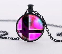 Wholesale Super Smash - 2016 charms necklaces Super Smash Bros Ball Pink and Black Pendant Glass Domechoker pendants Jewelry FTC-N460