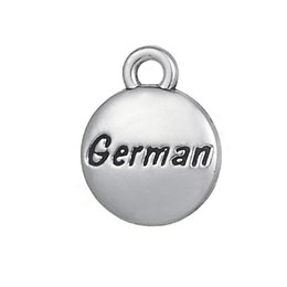 engraved charms wholesale Promo Codes - Message German Engraved Tibetan Silver Charms Pendants for Bracelet diy Jewlery Wholesale 20pcs lot