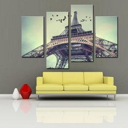 Wholesale Paris Oil Paintings - 4 Panels Modern France Paris Eiffel Tower Painting Canvas Art Landscape Printing Wall Art for Home Decor with Wooden Framed Ready to Hang