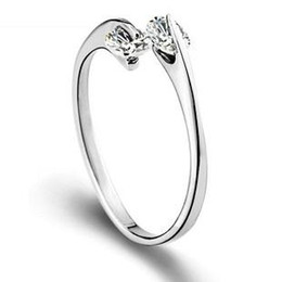 Wholesale Simple Single Rings - Free shipping new arrival 925 sterling silver ring jewelry simple double diamond single ring open design