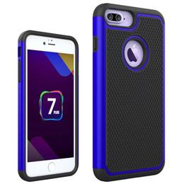 Caso duro balístico on-line-Para iphone 7 plus rugged híbrido 3 em 1 futebol pele borracha balística capa de plástico rígido case