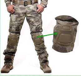 Wholesale Pants Knee Pads - Wholesale-Camouflage military pants men trousers us tactical army pants camo cargo training pants mens baggy cargo pants with knee pads