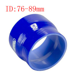 """Wholesale Silicone 76mm - Samco 3"""" To 3.5"""" ID:76mm OD:89mm 0° 3-Ply Reducer Silicone Intercooler Turbo Air Intake Pipe Coupler Hose blue Intercooler silicone pipe"""