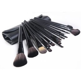 Wholesale Makeup Brush 18 Black - high quality 18 12 17 pcs black wood color professional makeup brushes sets with leather bag hot sale