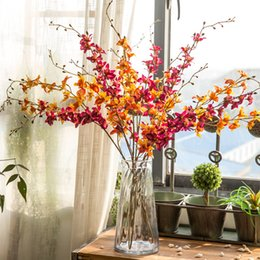 Wholesale beautiful holiday homes - 2017 New Beautiful Artificial Flowers Silk Flowers Long Branch Stand Fake Flowers Vintage Clivia Miniata Home Holiday Decor