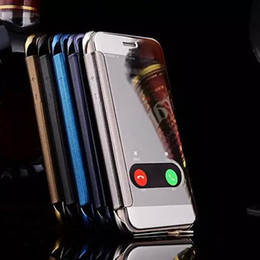 Wholesale back view mirror - For iphone X 8 Transparent Mirror Clear View Leather Flip Smart Case Electroplate plated Wallet Hard back Cover for iphone 7 plus 6s 5s