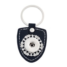 Wholesale Leather For Keychains - 7.7x3.8cm black leather metal snap button charms keychain keyrings fit 18mm snap charms for Christmas gift