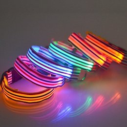 Wholesale Metal D Rings Wholesale - Color Stripe Dog Collars With Metal D Ring Fastener Puppy Necklet LED Light Up Flashing Pet Leashes New 3 8gr B