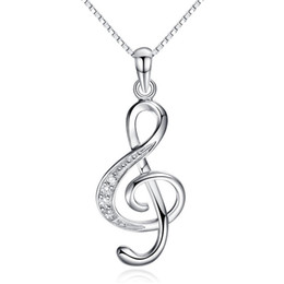 Wholesale Charms Pendants Music - 925 sterling silver necklces crystal jewelry music note diamond pendant statement necklace wedding vintage new arrival