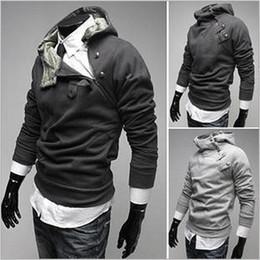 Wholesale Hair Collar Rabbit - New Men's Hoodie monde Korea Zipper hooded Sweatshirts Rabbit Hair Collar Oblique plus size Men's Jacket Black