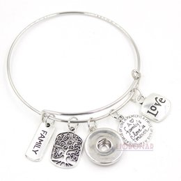 Wholesale Imitation Tree - Wholesale Snap Jewelry Adjustable Expandable Wire Bangle Memorial Family Tree Charm Bracelets Snap Button Bracelets for Family Gift