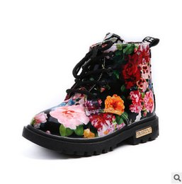 Wholesale Child Patent Boots - Kids boots girls floral printed martin boots autumn children lace-up bows single shoes winter new kids thick warm snow bootses T0417