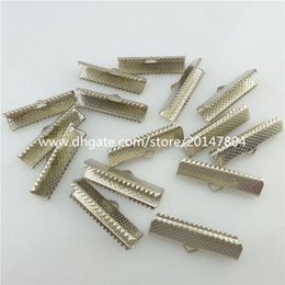 Wholesale Hook End Clasp - 19586 40X 25mm Dull Silver Ribbon Clip Clamps Tips Clasps Hooks Cord Ends Beads